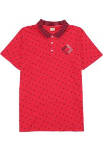 Camisa Milon Infantil Raquetes Vermelha