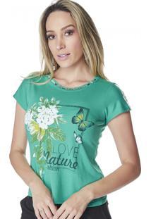 T-Shirt Verde Celestine Estampada