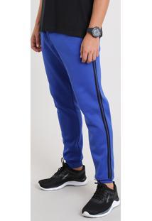Calça Masculina Esportiva Ace Em Moletom Com Faixas Laterais Azul Royal