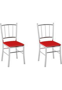 Kit 2 Cadeiras Pc12 Assento Vinil Vermelho - Pozza