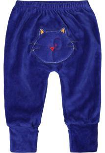 Calça De Bebê Pé Reversível Plush Azul Royal Bordado No Bum Bum Azul Royal - Kanui
