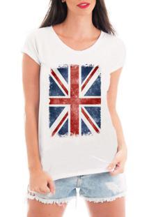 Camiseta Criativa Urbana Bandeira Londres Branca - Tricae