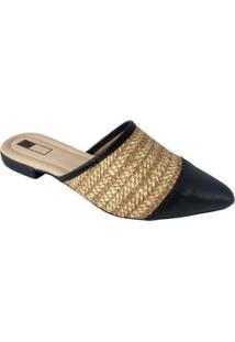 Mule Slipper Sapatoweb Palha Feminino - Feminino-Preto