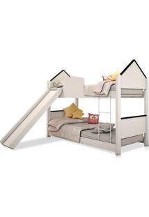 Beliche Infantil Casa Branca E Preta Com Escorregador Casah - Branco - Dafiti
