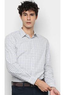 Camisa Xadrez Manga Longa Vr Masculina - Masculino-Azul