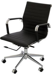 Cadeira Eames Baixa Preta Base Cromada - 14105 - Sun House