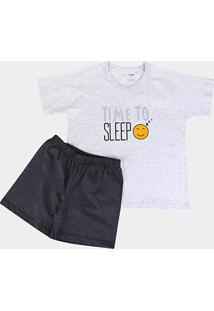 Pijama Infantil Candy Kids Meia Malha Time To Sleep Masculino - Masculino-Preto