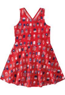 Vestido Evasê Malha Texturizada Menina Vermelho - 10
