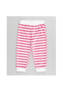 Calça Infantil Básica Listrada Em Plush Rosa