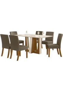 Sala De Jantar Mesa Alfa 160Cm 6 Cadeiras Maris Nature/Off White/Bege
