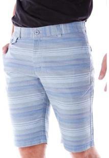 Bermuda Sarja Estampada Regular Amaciada Traymon Masculina - Masculino-Cinza