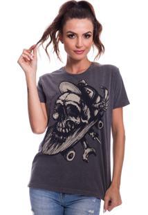 Camiseta Jazz Brasil Caveira Sk8 Preto Estonado