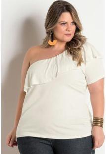 Blusa Plus Size Off White De Um Ombro Só