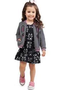 Jaqueta Infantil Em Matelassê Com Glitter Zig Zig Zaa Feminina - Feminino-Cinza