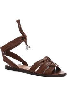 Rasteira Couro Shoestock Tiras Amarração - Feminino-Marrom Claro