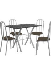 Conjunto De Mesa Miami 4 Cadeiras Branco/Cacau Fabone