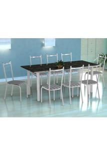 Conjunto De Mesa Cordoba Com 8 Cadeiras Lisboa Branco E Preto Listrado