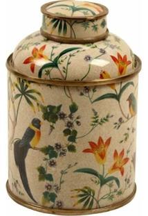 Vaso Decorativo De Porcelana Com Bronze Jahan I Pequeno - Unissex