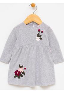 Vestido Infantil Bardado Flor - 0 A 18 Meses