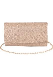 Bolsa Clutch Com Textura Ouro -