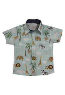 Camisa Safari Social Menino Mabu Denim Infantil