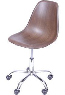 Cadeira Eames Com Rodizio Polipropileno Amadeirado Escuro - 40601 - Sun House