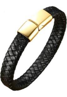 Pulseira Bracelete Em Couro Artestore -Gold Fecho Aço Feminino - Feminino-Preto