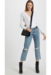 Calca Boyfriend Com Ziper Aplicado Jeans - 36