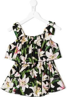 Dolce & Gabbana Kids Blusa Com Sobreposição Floral - Preto