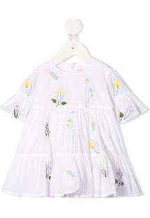 Il Gufo Vestido Com Bordado Floral - Branco