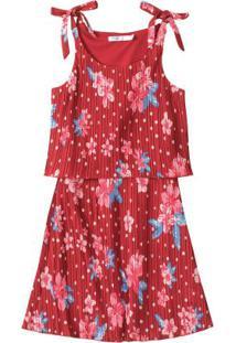 Vestido Vermelho Plissado Floral