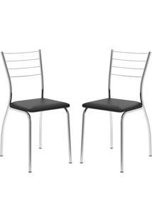 Cadeira Casual 1700 Carraro (2 Unidades) Preto
