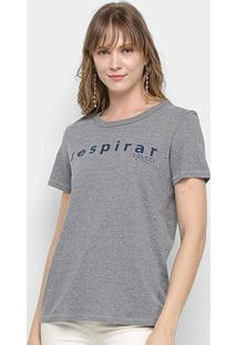 Camiseta Colcci Básica Respirar Feminina - Feminino-Mescla