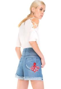 Shorts Jeans Bordado Polvo