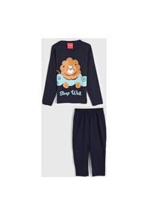 Pijama Tricae Longo Infantil Leão Azul-Marinho