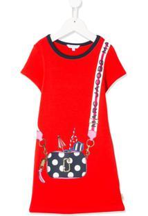 Little Marc Jacobs Vestido Com Estampa De Bolsa - Vermelho