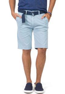 Bermuda Chino Flex Com Cinto Azul Claro