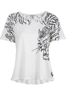 Camiseta Rosa Chá Florence Malha Branco Feminina (Branco, Pp)
