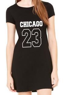 Vestido Criativa Urbana Estampado Chicago 23 - Feminino-Preto