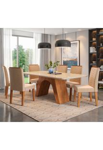 Conjunto De Mesa Clara 1,80 Para Sala De Jantar Com 6 Cadeiras Clarice-Cimol - Savana / Off White / Nude