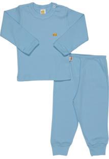 Pijama Bebê Manga Longa Baby Duck Azul Bebê