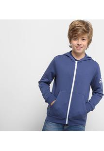 996c30c0e1442 Netshoes. Jaqueta Infantil Adidas Yb Logo Fz Hood Masculina - Masculino