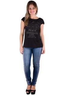 Camiseta Banna Hanna Recorte Frontal Com Silk Feminina - Feminino-Preto
