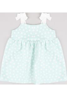 Vestido Infantil Estampado Floral Com Laços Alça Média Verde Claro