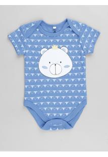 Body Infantil Urso Estampado Geométrico Manga Curta Azul