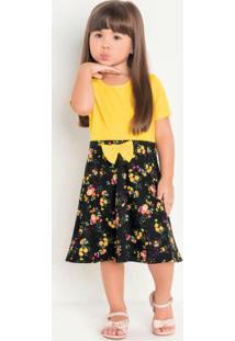 Vestido Infantil Amarelo Floral Moda Evangélica