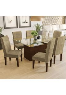Mesa De Jantar Com 6 Cadeiras Csj134Waf – Kappesberg - Caramelo
