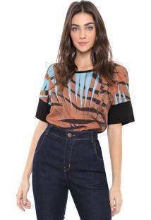 Camiseta Sacada Folhagem Bege/Azul