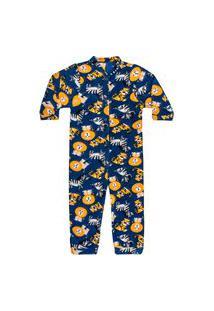 Macacão Pijama Infantil Soft Safari Azul Everly