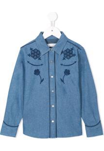 Stella Mccartney Kids Camisa Jeans Com Patch Floral - Azul